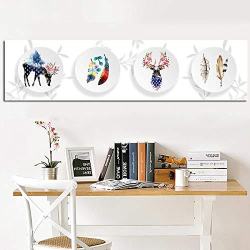 Abstrakte Hirsch Wald Feder Auf dem Teller Nordic Kunstdruck Pictur Skandinavischen Leinwand Poster Wandbilder Für Wohnzimmer Dekor-40x160 cm kein Rahmen