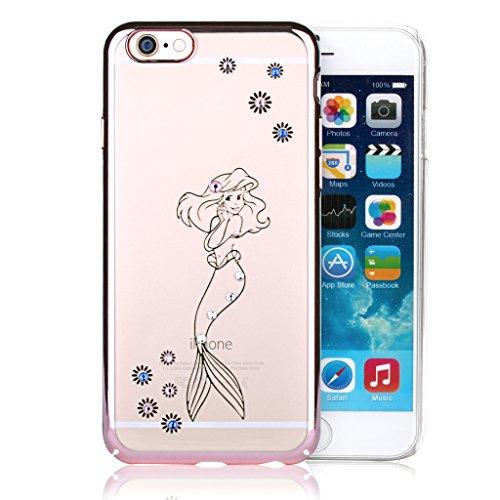 Feilok Beautiful Mermaid Phone Case colorato Strass Oro Rosa Pieno Proteggere Frame Cover Rigida Trasparente per iPhone 6/6S 11,9cm
