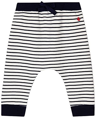 Petit Bateau A01EI Pantalones de Vestir, Blanco/Azul, 12 Meses para Bebés
