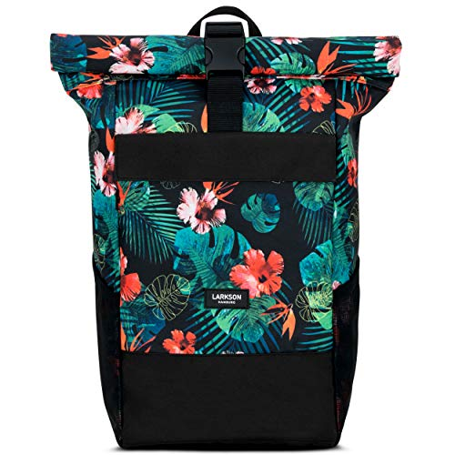 Roll Top Backpack Womens & Mens Tropical Jungle Larkson No 4 Daypack Made from Recycled PET Bottles - College Laptop Bag 15.6' - Water-Repellent