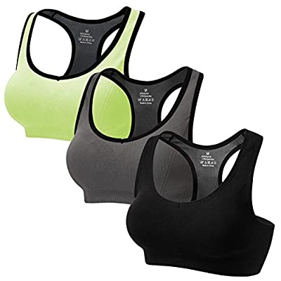 CARETOO Women Racerback Sports Bras Activewear High Impact for Fitness Workout Yoga Gym 3 Packs