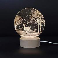 GUONING-L テーブルランプ ファッションクリエイティブ3Dクリスマス常夜灯誕生日ギフトランプミニマリストのアクリル彫刻ファンタジーLEDランプ(15 * 10 * 19センチメートル)高の味 間接照明