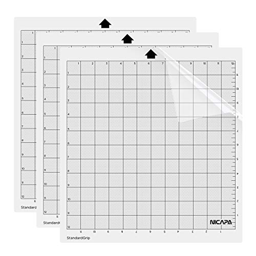 Nicapa Cutting Mat for Silhouette Cameo 3/2/1 (Standardgrip,12x12 inch,3pack) Adhesive&Sticky Non-Slip Flexible Gridded Cut Mats Replacement Matts Accessories Set Vinyl Craft Sewing Cloth