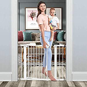 Tokkidas Auto Close Safety Baby Gate, 29.5″-40.6″ Wide Child Gate, Easy Walk Thru Dog Gates for Doorways Stairs House, Includes 2.75″ & 5.5″ Extension Kit, 4 Pressure Mounts and 4 Wall Cups (White)