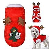 DOXMAL Disfraz de Mascota de Navidad,Traje de Perro Navidad Algodón Ropa para Mascotas Abrigo con Capucha de Invierno Ropa para Perros Pequeños Gatos Mascotas Regalo Festivo Disfraz Decoracion