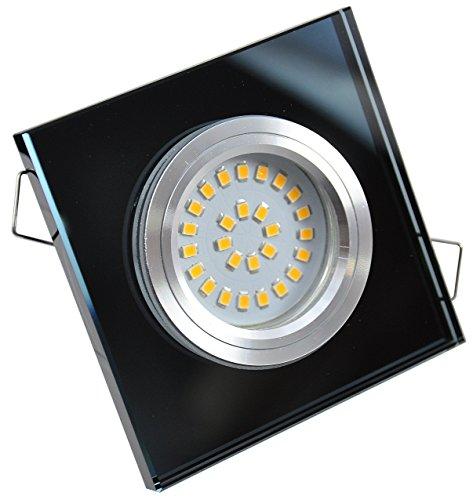 Set Verre Noir encastrable 5 W 230 V LED SMD Spot non orientable logement Éclairage de design lumière Kit complet – Set complet