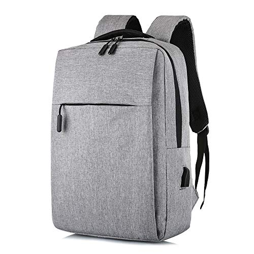 Ang-xj Casual backpack men and women USB backpack Korean version of the simple computer bag student bag gift bag waterproof,breathable,wear-resistant Korean business backpack (Color : Light gray)