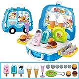FairOnly Kinder niedlichen Cartoon Spielhaus Koffer Form Spielzeug Set Eiswagen