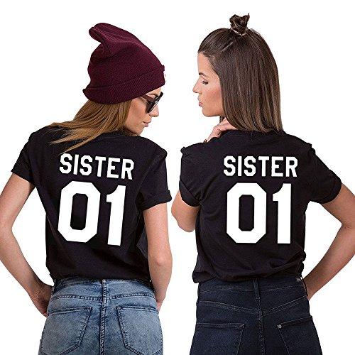 Best Friend Shirt 100% Cotone Coppia T-Shirt BFF Stampa Sister 01 Maglietta Migliori Amiche Per Donna Moda Casual Estate(Nero1 + Nero1,S+M)