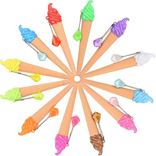 12 Stück Weihnachten Eis Stift Neuheit Niedlicher Tintenstift Verschiedene Farben Schreibstift für Kinder Schulbedarf Party Bevorzugung