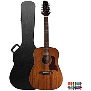 Sawtooth Mahogany Series 12-String Solid Mahogany Top Acoustic-Electric Dreadnought Guitar with Hard Case and Pick Sampler