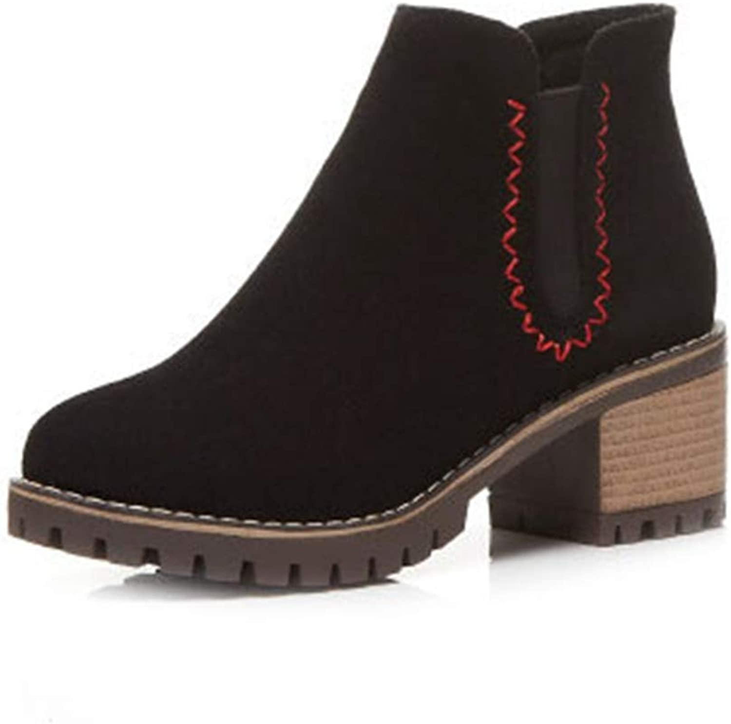 GIY Women's Chunky Block Stacked Heel Ankle Boots Suede Round Toe Platform Bootie Cotton Martin Short Boot