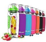 willceal Botella de Agua con Tapa para infusiones de Frutas, Resistente, con diseño a Prueba de Fugas, tamaño Grande, Ideal para Llevar Cuando Haces Deportes, para IR a Acampar (Verde)