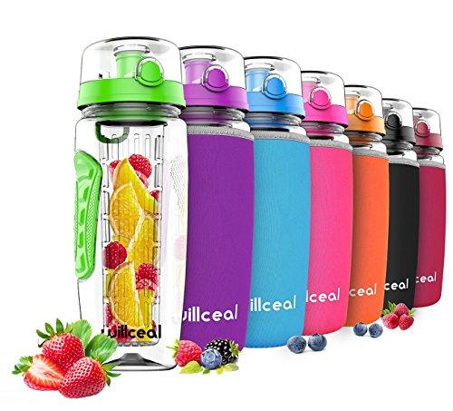 willceal Wasserflasche mit Fruchteinsatz 1L –Hochwertig und beständig – Groß, BPA-frei, aus Tritan – Aufklappbarer Deckel mit Tragegriff – Auslaufsicheres Design