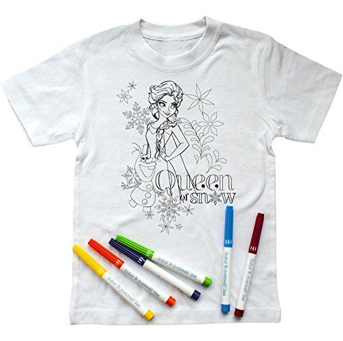 Disney Mädchen T-Shirt zum Ausmalen mit ELSA & Olaf-Aufdruck, inkl. Stiften (122-128)