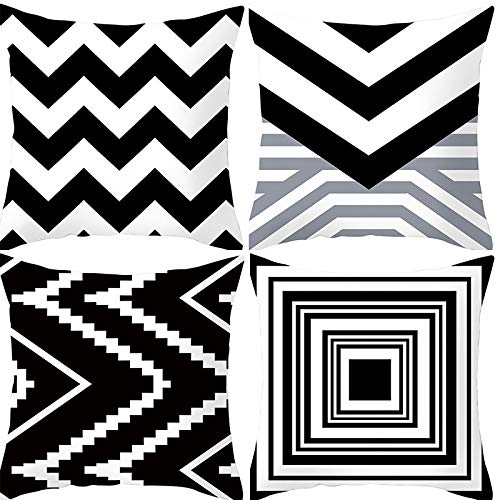 Hey shop 4 sets of pillowcases, square decorative pillowcases, pillowcases with sofa, sofa bed with invisible zipper, pillowcases for Christmas, wedding, birthday, memorial bedroom and living room