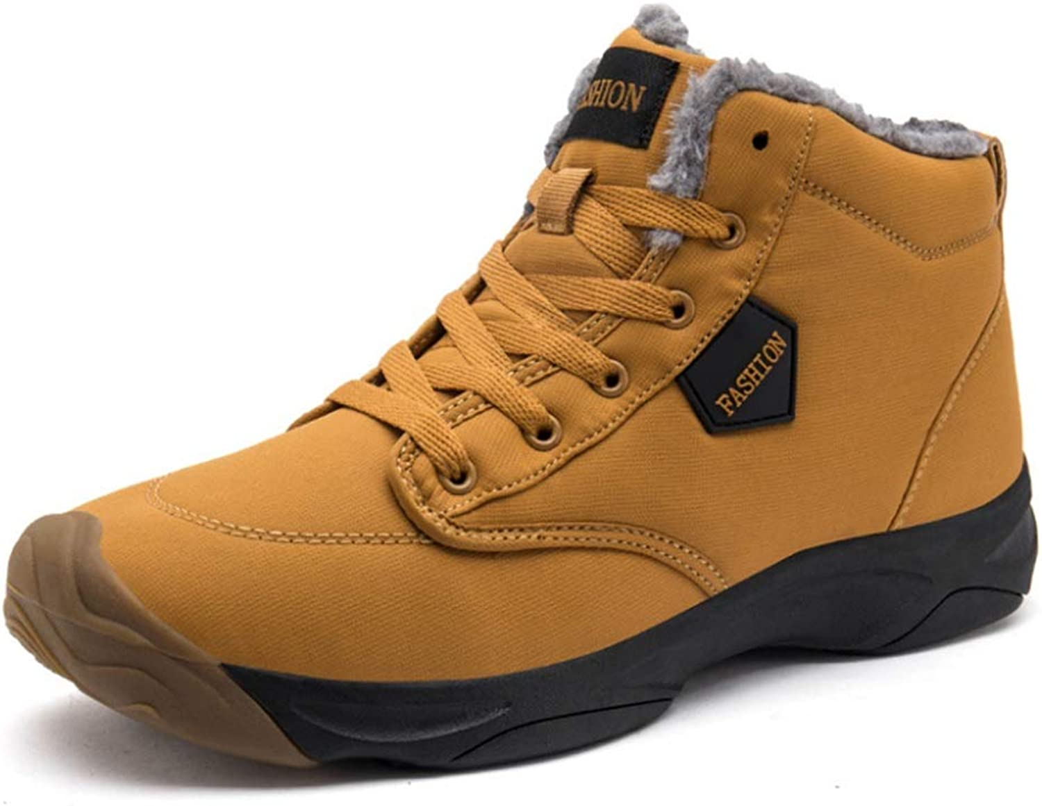 Mens Winter Warm Leather Waterproof Snow Sneakers Anti Slip Lightweight Outdoor Boots High Top Sport shoes (color   Yellow, Size   9 US)