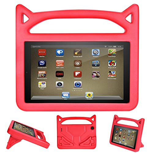 2019 10 inch Tablet Case for Kids- Auorld Shock Proof Light Weight Convertible Handle Stand Kids Friendly Cover for 10 in Tablet(Red)