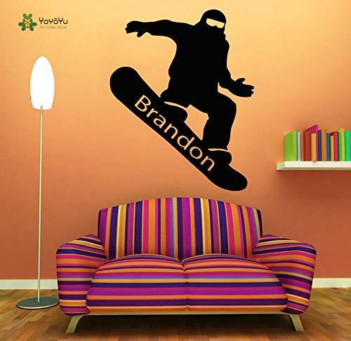 Muursticker Vinyl kamer Decoratie Snowboarden Gepersonaliseerde Naam Kunst Verwijderbare Sticker Jongen Kamer Decor 57 * 72cm