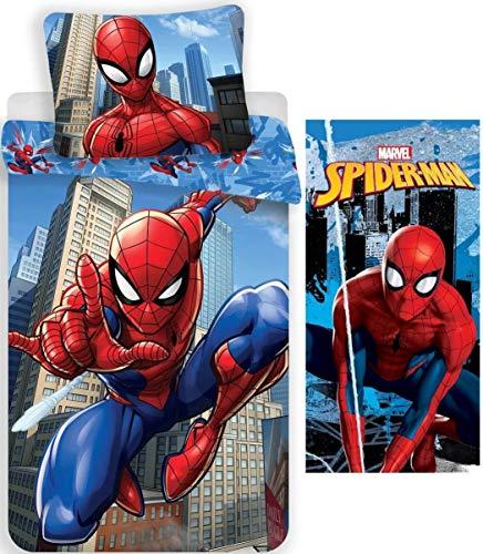 rainbowFUN.de Marvel Spiderman - Juego de cama infantil (135 x 200 cm, toalla de baño 70 x 140 cm, algodón)