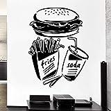 Sticker Mural Fast Food Frites Soda Burger Restaurant Pop Art Livraison Gratuite 44X70 cm
