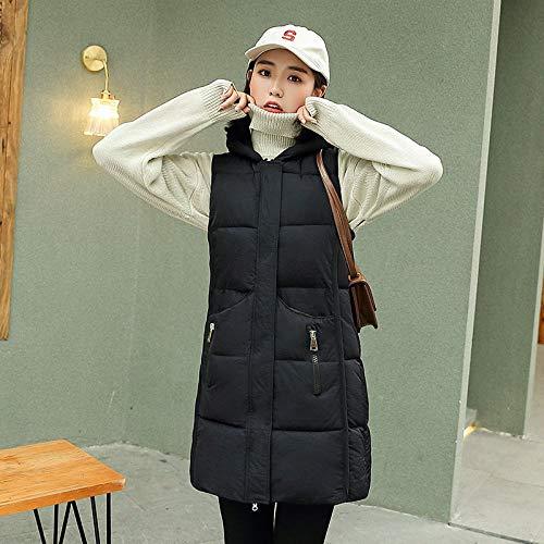 Kvinnors vadderat förgyllning, höst vinter dunväst med huva ärmlös lång midjetyg, damer lätt varm bomull vadderad ledig svart väst jacka, XL
