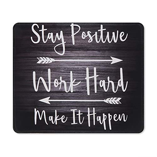 iCasso Mouse Pad with Stitched Edge, Non-Slip Rubber Base and Comfortable Lycra Cloth Mouse Mat, Waterproof Mousepad for Computer, Laptop, Office, Home - 10.4 x 8.4 in - Stay Positive