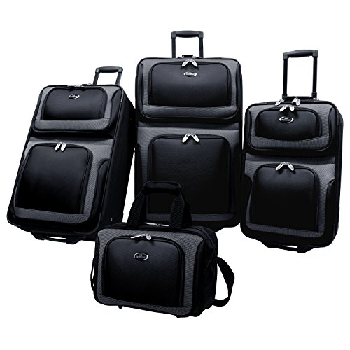 U.S. Traveler New Yorker Lightweight Expandable Rolling Suitcase Set 4-Piece, Black