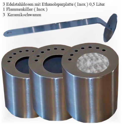 3 boîtes de carburant en acier inox rempli de laine céramique / Avec 3 correspondant à l'éthanol économiser plaques / + 1 en acier inoxydable flammes extincteur