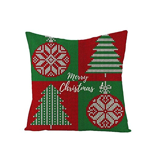 'N/A' Red Green Christmas Pillow Covers Throw Pillow Cases Square Cushion Cover Christmas Decor Home Gift, Cotton Linen Pillow Case 16x16 Inch