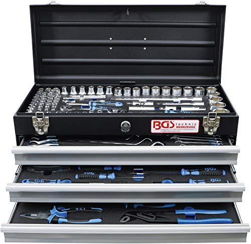 BGS 3318 | Metall-Werkzeugkoffer | mit 143 Werkzeugen | 3 Schubladen | mit Werkzeug gefüllt - 2