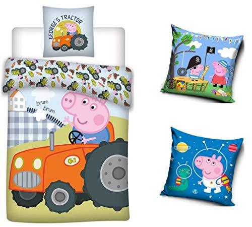 TRENDHAUS Juego de cama reversible de Peppa Pig Peppa Pig George, 4 piezas, 135 x 200 cm, 80 x 80 cm, 100% algodón, linón, 2 fundas de almohada de 40 x 40 cm