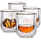 BTaT- Whiskey Glasses Double Wall, Bourbon Glasses, Set of 4, Cocktail Glasses, Scotch Glasses, Old Fashioned Glass, Rocks Glass, Crystal Glasses, Vodka Glasses, Drinking Glasses, Gifts, Gins