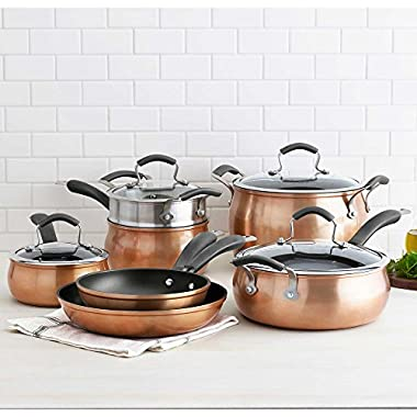 Epicurious 11-pc. Nonstick Heavy-Gauge Aluminum Construction Cookware Set in Copper Finish