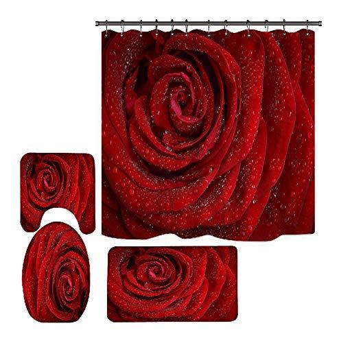 Hankyky Valentines Duschvorhang Romantische rote Rose Blumen Sweet Heart Love Duschvorhang-Sets mit rutschfestem Teppich Toilettendeckel, Badematte & 12 Haken,Wasserdichten Duschvorhang-Sets