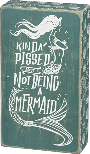 Primitives by Kathy Beach-Inspired Teal Box Sign, 5 x 5-Inches, Not Being A Mermaid