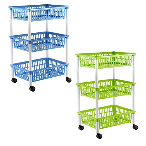axentia Küchenwagen mit 3 Körben, Transportwagen auf Rollen, in Grün, Blau (farblich sortiert), Kunststoff, 1er Pack