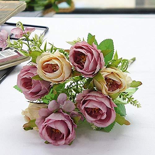 Rosas falsas, decoraci¨®n de flores falsas peon¨ªa artificial hortensias de seda falsas decoraci¨®n claveles de pl¨¢stico arreglos florales ramo de boda flores de seda centros de mesa-p¨²rpura