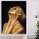 NIMCG Moda Donna Africana Nera Tela Smalto Rosso Dipinto su Tela Poster e Stampa Foto Wall Art per Soggiorno (Senza Cornice) A2 20x30CM