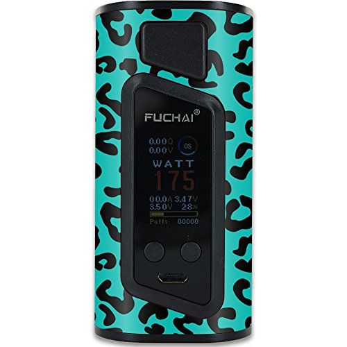 MightySkins Skin Compatible with Sigelei Fuchai Duo-3 Vape (2-Battery Cover) – Teal Leopard | Protective, Durable, and Unique Vinyl wrap Cover | Easy to Apply, Remove | Made in The USA