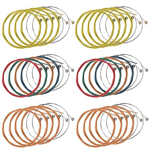 6 Juegos de Cuerdas de Guitarra Acústica Reemplazo de Cuerda de Acero para Guitarra (2 Juego Latón 2 Juego Cobre Rojo y 2 Juego Multicolor)