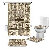 YNYEZBH Duschvorhang 4-teiliges Set Zeitung Retro Toilettendeckel Badematte rutschfeste wasserdichte Duschvorhang Badezimmerdekoration