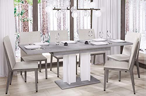 Esstisch Aurora 170 ausziehbar erweiterbar Küchentisch Säulentisch Weiß Bicolour (Beton)