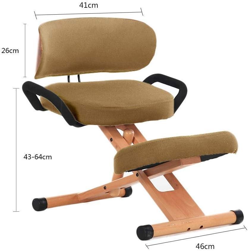 YAMMY Sièges genoux Ergonomiques Chaise de bureau Tabouret orthopédique réglable en hauteur avec dossier avec poignée (couleur: rose rouge) kaki