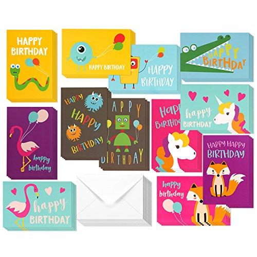 Best Paper Greetings Kinder Verjaardagskaarten Set (48-Pack) - Eenhoorn, Flamingo en Monster Ontwerpen - Blank aan de binnenkant, Enveloppen Inbegrepen - 10 x 15 Centimeter