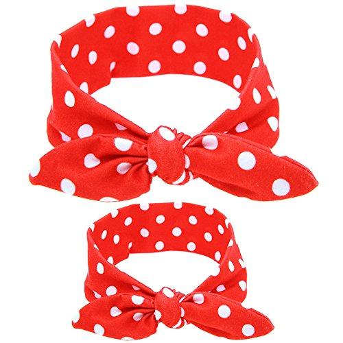 Vertvie Haarband, 2 stuks, voor moeder en baby, haarband, hoofdband, elastische hoofdband met strik