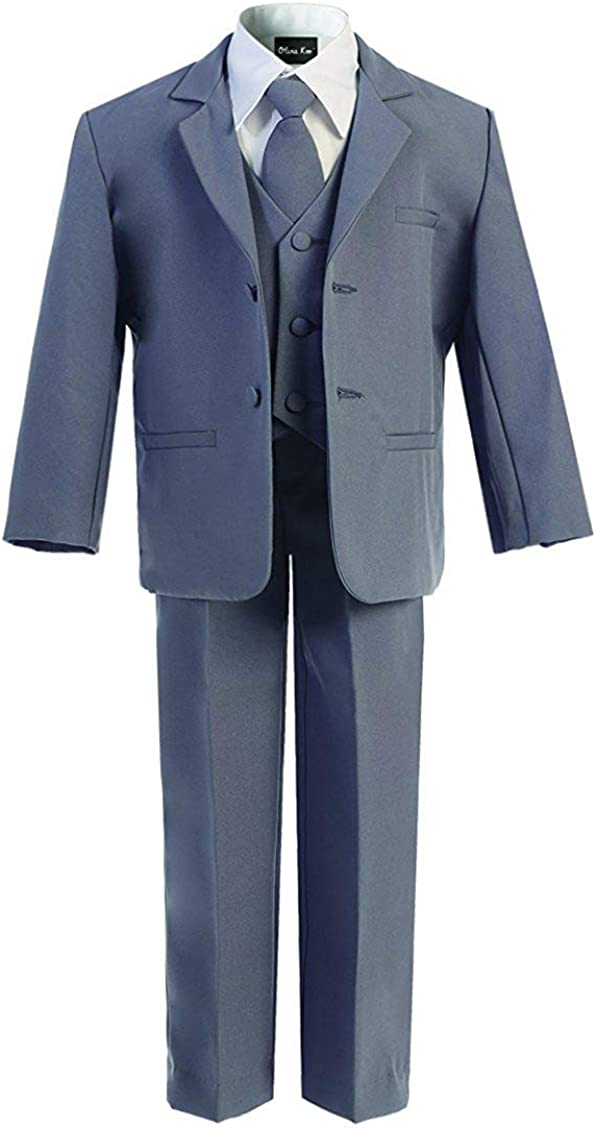 OLIVIA KOO Boys Classic Suit Set with Cloth Cover Buttons 2T Darkgrey