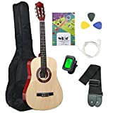 38 Inch Classical Guitar Acoustic Full Size Guitar 6 Strings Handmade Wooden Guitar for Beginners Junior Kids Starter Kits with Waterproof Bag Guitar Clip Tuner Strap Extra Strings (Natural)