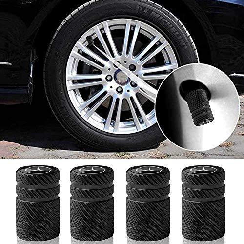 4 Pcs Metal Car Wheel Tire Valve Stem Caps for Mercedes Benz C E S M CLS CLK GLK GL A B AMG GLS GLE Logo Styling Decoration Accessories.Black
