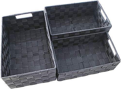 Clay Roberts Aufbewahrungskorb, 3er Pack, Grau, groß und mittelgroße, Aufbewahrungsboxen für Badezimmer